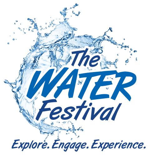 The Water Festival logo, with a splashing background