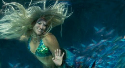 Mermaid in tank, waving, photo