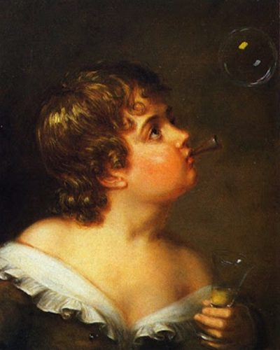 Renaissance style head-and-shoulders painting of child blowing a bubble