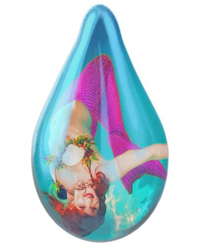 Mermaid upside-down in a big teal water droplet