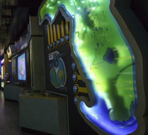Big, lit, display of the state of Florida with information buttons
